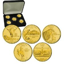 2007 24kt Gold Plated US Mint State Quarters Set in Gift Box w/COA  Gold Layered