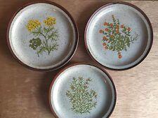 vintage set of 3 speckled salad dessert plates with wildflowers, takahashi