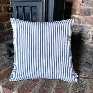 633. Handmade Blue Ticking Stripes 100% Cotton Cushion Cover Various sizes