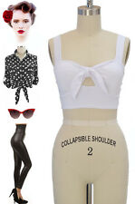50s Style BOMBSHELL Pinup Solid WHITE Bandeau CROP Top with TIE BUST & Keyhole