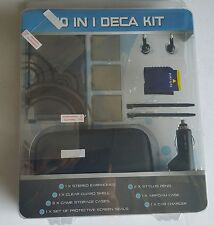 NEW Black 10 Piece Deca Accessory kit for Nintendo DSi Case Car Charger Earphone