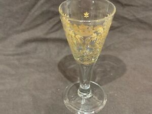 "Antique wine glass engraved & gilt 6.5"" dated 1785 royal crest tear drop stem"