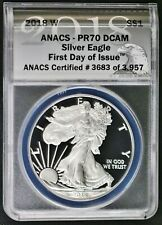 2018-W $1 Silver Eagle ANACS PR70 DCAM First Day of Issue # 3683 of 3957 2018 W