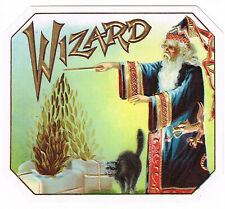 OUTER CIGAR BOX LABEL VINTAGE C1920 WIZARD MAGIC SORCERER BLACK CAT HALLOWEEN