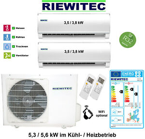 Dual MultiSplit (2 x 3,5 kW) RIEWITEC Klimaanlage 5,3 / 5,6 kW, A+/A, R32