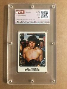 CARLOS MONZON  STICKER SPORT CHAMPION 1973 PANINI # 291 GRADED SCC 6,5