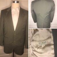 LL Bean Blazer Men's 38R Olive Green 2 Button Single Vent Lightweight Jacket USA