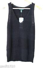 NWT LAUREN Ralph Lauren Black Linen Cotton Knit Sleeveless Sweater Vest S $98