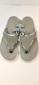 Women's Tek Gear Bayou Sandals sizes 9/10 and 11 Gray/ White Flip Flops Thongs