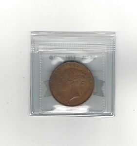 1855 Great Britain, One Penny, Coin Mart Graded **AU-50**