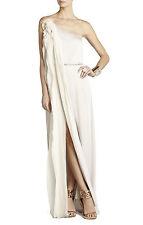 $498 BCBG Canvas Nalda One Shoulder Silk Gown Beach Wedding Dress Sz Medium 8