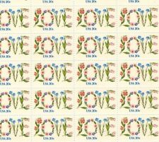 #1951 20¢ Love written with flowers Full Mint Sheet of 50 MNH OG toning