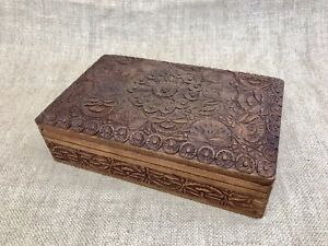 Vintage Indian Wooden Jewelry Box All Hand Carved & Exquisite