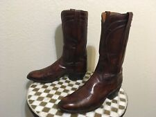 BROWN DISTRESSED LUCCHESE SA-TX ROCKABILLY WESTERN COWBOY TRAIL BOSS BOOT 10.5 D