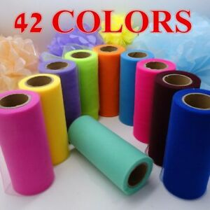 "(25 YARDS) TULLE thick 6"" ribbon roll craft xmas holiday gift wrap wedding party"