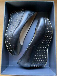 Black Platform Shoes Wih Gold Studded Base. Size 8