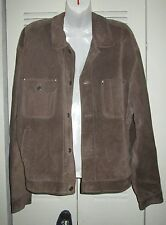 Handsome GAP Mens Leather Suede Crop STITCH Jacket WHEAT BROWN Large *AS-IS