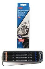 Derwent soluble dans l'eau Sketching Crayons 6 Set avec Tin & sharpener