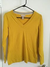 Banana Republic Women's Extra Fine Marino Sweater V Neck Yellow Petite PM