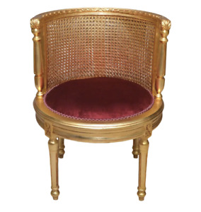 Giltwood Wicker Cane Side Chair