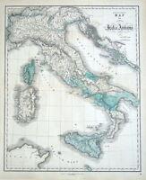 ITALY, Gall & Inglis original classical antique map c1850