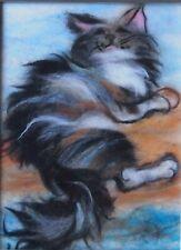 'Happy cat' Wool Fibre Painting Felting Picture Original Artwork by Raya Brown