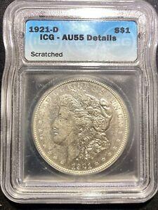 1921 D Morgan Silver Dollar ICG AU55 DETAILS