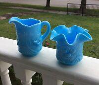 Vintage Blue Slag Glass Creamer & Sugar Westmoreland pattern Wreathed Cherries