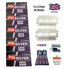 25 POLSILVER Super Iridium Double Edge Safety Razor Blades - 5 Packs