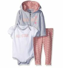 Reebok Baby Girls 3 Piece Fierce Little One Creepers and Legging Set, Blush, 3-6