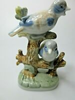 Vintage Original Porcelain Birds Perched On A Tree Limb Figurine Made In Taiwan