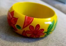 Ladies/Women's Wooden Yellow Floral Bangle - (3 inches hand space)