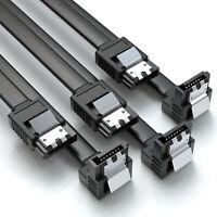3er Set 0,5m SATA-3 Kabel Schwarz | S-ATA 6 Gb/s High Speed SSD HDD 90° Winkel