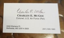 Charles E McGee Tuskegee Airmen signed autographed business card WW2 Korea