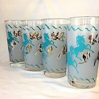 4 Mid-Century Frosted 10 OZ Bar Glasses Turquoise UNICORNS? Horses? Gold Trim