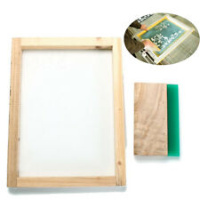 """Silk Screen Printing Frame 16"""" x 12"""" with 43T mesh & 8'' Wooden Squeegee DIY"""
