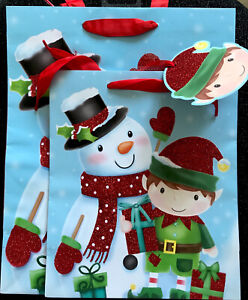 Pack Of 2 Christmas Snowman And Elf Glitter Gift Bag + Elf Tag - Large + Medium