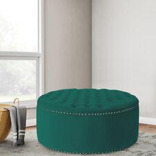 Chesterfield Velvet Deep Button Coffee Table Storage Ottoman Pouffe Rivet Style