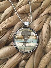 Jellyfish Beach Wood Ocean Sea Life Island Pendant Silver Chain Necklace NEW