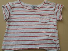 AMERICAN RAG WOMEN'S LADIES CROP TOP BLOUSE WHITE & ORANGE STRIPES CASUAL SIZE S