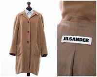 Women's JIL SANDER Angora Wool Long Coat Jacket Beige Size EU 40 US 10 UK 14