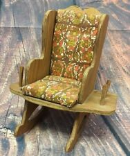 Vintage Wooden Spool Holder Rest Small Rocking Granny Chair 1970s Orange Floral