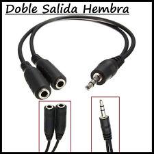 Adaptador Jack Macho a Doble Hembra 2 Cable para Audio Auriculares Dual Splitter
