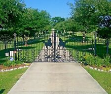 Custom Built Driveway Entry Gate 14 Ft Wide Dual Swing. Fencing, Handrails. Beds