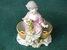 Porzellan Bonboniere Konfektschale Zuckerdose Mädchen Figur mit 2 Schalen