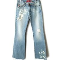 Big Star Flary flare bottom womens denim jeans pants size 27R destroyed bleached