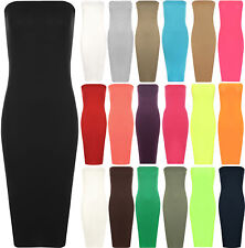 New Womens Plain Boob Tube Strapless Stretch Bodycon Long Ladies Midi Dress 8-14