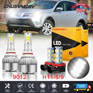 For 2016-2018 Toyota RAV4 Headlight + Fog Light Combo LED 9012 H11 Bulb 4PCS 6x