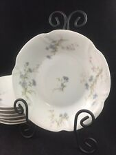 """Set of 7 THEODORE HAVILAND Limoges France BLUE DAISIES 7 1/2"""" Coupe Soup Bowls"""