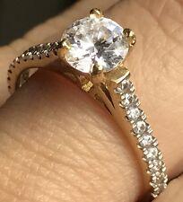 GOLD Ring 14K 1.5 carat Yellow Round manmade Diamond Engagement 7 6 8